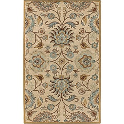 Hand-tufted Beige Wool Rug (5' x 8')