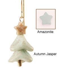 14k Gold Fill 'Blue by Moonlight' Gemstone Christmas Tree Earrings