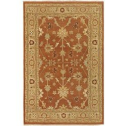 Hand-knotted Halmstad Rust-brown Wool Rug (3'9 x 5'9)