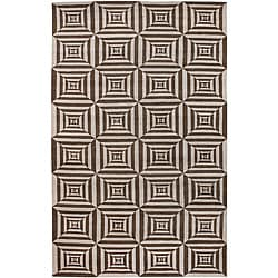 Hand-knotted Valence Brown Wool Area Rug (5' x 8') - Thumbnail 0
