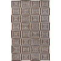 Hand-knotted Valence Brown Wool Area Rug (5' x 8') - 5' x 8'