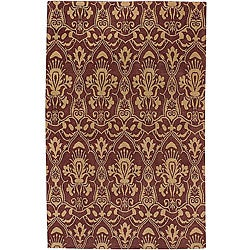 Hand-knotted Valence Wine Wool Rug (5' x 8')
