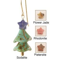 14k Gold Fill 'Artful Arbor' Gemstone Holiday Earrings
