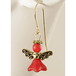 'Angels of Radiant Red' 14k Gold Fill and Glass Earrings