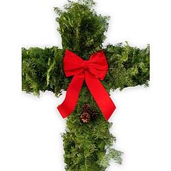 Balsam Fir 30-inch Cross Wreath