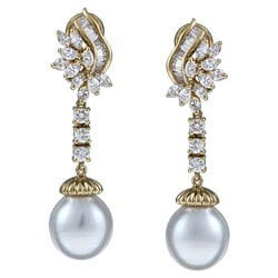 Kabella 18k Yellow Gold South Sea Pearls and 1 7/8ct TDW Diamond Earrings (11 mm) (H-I, SI2)