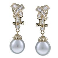 Kabella 18k Yellow Gold South Sea Pearls and 4/5ct TDW Diamond Earrings (10 mm) (H-I, I2-I3)