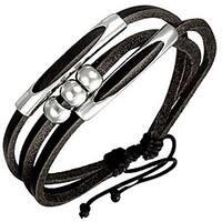 Genuine Leather Black 'Beaded Fortune' Bracelet
