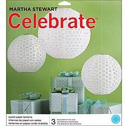Thumbnail 1, Martha Stewart Celebrate Decor White Eyelet Lanterns (Pack of 3).