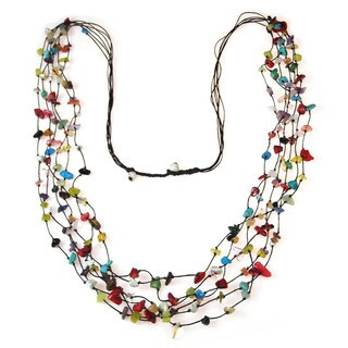 Handmade Cotton Multicolor Gemstone Layered Long Necklace (Thailand)