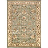 Loomed Free Form Seafoam Border Area Rug (5'3 x 7'6)