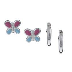 Sterling Essentials Sterling Silver Stud and Hoop Earrings Set