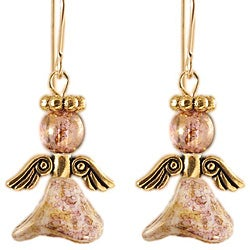 14k Gold Fill 'Brightly Beaming' Glass Angel Earrings