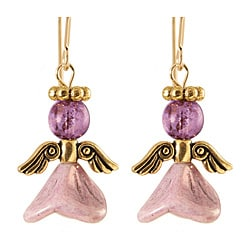 14k Gold Fill 'Angels of Purple Elation' Glass Bead Earrings