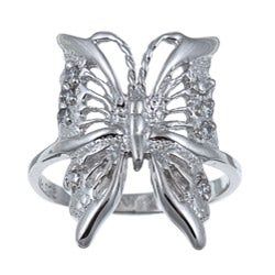 Sterling Essentials Sterling Silver Cubic Zirconia Butterfly Ring