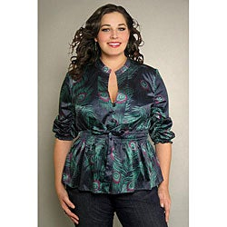 INES Collection Women's Plus Size Peacock Print Top