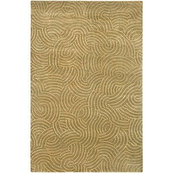 Hand-knotted Resonate Beige Abstract Design Wool Area Rug (5' x 8') - Thumbnail 0