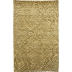 Hand-knotted Resonate Pale Moss Abstract Design Wool Rug (5' x 8')