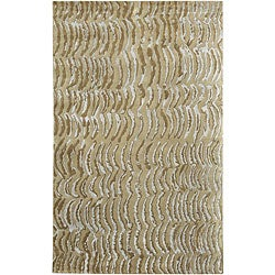 Hand-knotted Resonate Grey Abstract Design Wool Rug (5' x 8')