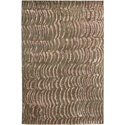Hand-knotted Resonate Grey Abstract Design Wool Area Rug (5' x 8') - Thumbnail 0