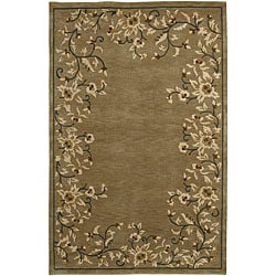 Hand-knotted Neoteric Brown Wool Rug (8' x 11')