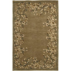 Hand-knotted Neoteric Brown Wool Area Rug - 8' X 11' - Thumbnail 0