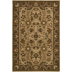 Hand-knotted Neoteric Brown Wool Rug (5' x 8')