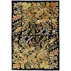 Hand-knotted Contemporary Neoteric Black Wool Floral Area Rug (5' x 8') - Thumbnail 0