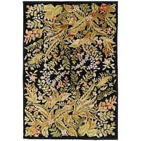Hand-knotted Contemporary Neoteric Black Wool Floral Area Rug (5' x 8') - 5' x 8'