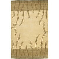 Hand-knotted Beige Floral Neoteric Beige Semi-Worsted Wool Area Rug - 5' x 8'