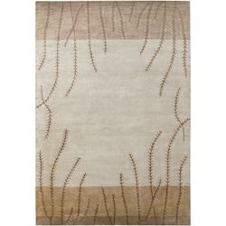 Hand-knotted Beige Floral Neoteric Beige Semi-Worsted Wool Area Rug - 9' x 13' - Thumbnail 0