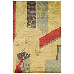 Hand-knotted Contemporary Neoteric Tan Wool Abstract Area Rug (5' x 8') - 5' x 8' - Thumbnail 0