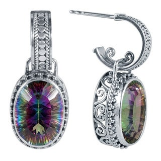 Sterling Silver Oval Exotic Quartz Dangle Earrings (Indonesia)
