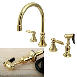 governor widespread polished brass kitchen faucet