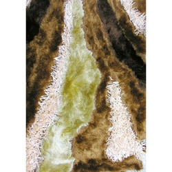 Indoor Abstract Brown/ Pink Rug (7'3 x 5'3)