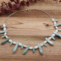 Silverplated 'Isla Tropical' Jade and Amazonite Necklace