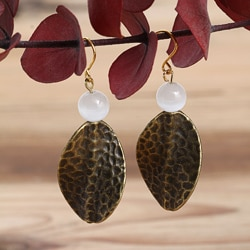Goldplated Autumn Rain Cat's Eye Earrings