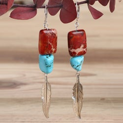 Silverplated Princess Long Feather Variscite Earrings