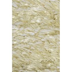 Handmade White Wool Shag Rug (5' x 8')