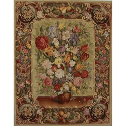 Hand-Woven Aubusson-Weave Wool Wall Tapestry