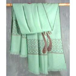 Handmade Wool 'Aqua Paisley Swan' Shawl (India)
