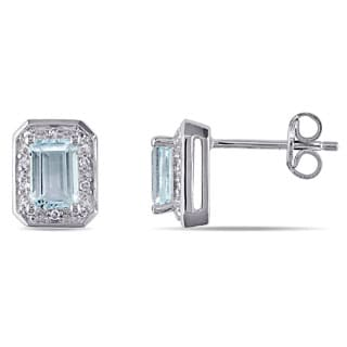 Miadora Sterling Silver Aquamarine and 1/10ct TDW Diamond Earrings (H-I, I3)
