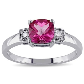 Miadora Sterling Silver Pink Topaz and Diamond Fashion Ring
