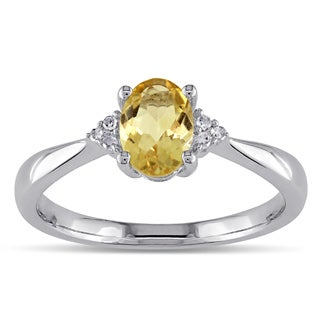 Miadora Sterling Silver Oval Citrine and Diamond-accented Ring