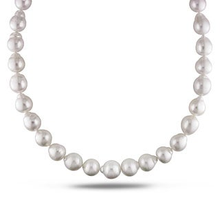 Miadora Signature Collection White South Sea Pearl and Diamond 18-inch Necklace (12-14 mm)