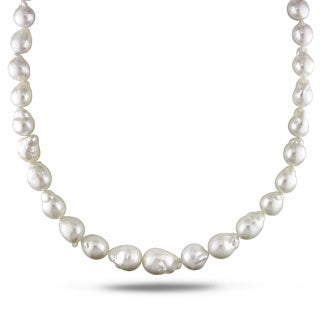 Miadora Signature Collection White South Sea Pearl and Diamond 18-inch Necklace (10-14 mm)