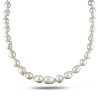 Miadora Signature Collection White South Sea Pearl and Diamond 18-inch Necklace (10-14 mm)