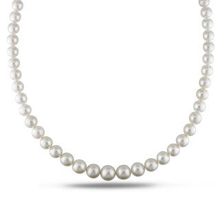 Miadora Signature Collection White South Sea Pearl and Diamond 18-inch Necklace (8.5-11 mm)
