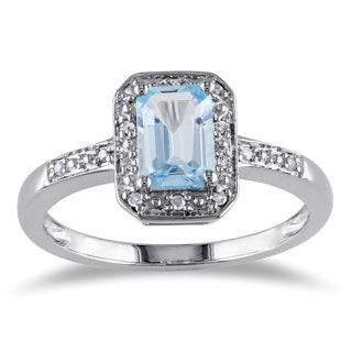 Miadora Sterling Silver Blue Emerald-cut Topaz and Diamond Ring