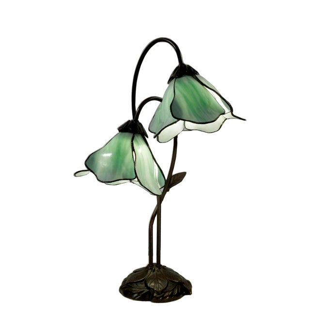 Thumbnail 1, Double Accent 2-light Green Floral Bronze Table Lamp.